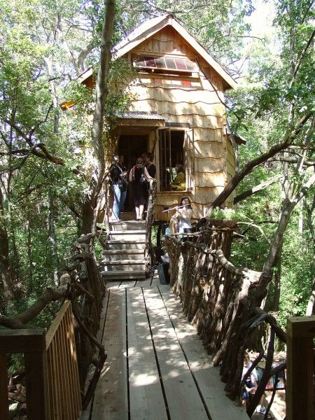 The Tree House in Huntsville, Texas; built from recycled and salvaged materials by The Phoenix Commotion: Funky Houses, Phoenix Commot, Favorite Places, Treehouse 38 Jpg W375 H500, Trees Houses, Tiny Houses, Bridges, Small Houses, Small Abod