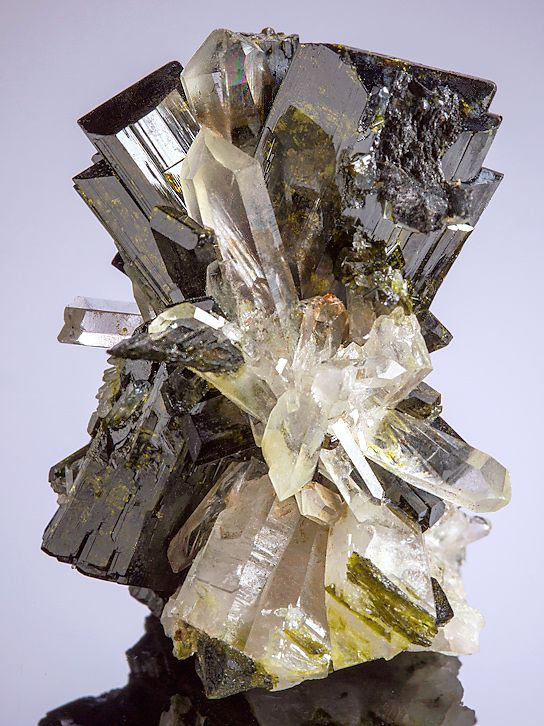 Epidote crystals with Quartz --- From the Green Monster Mountain, Prince of Wales Island, Ketchikan District, Alaska.