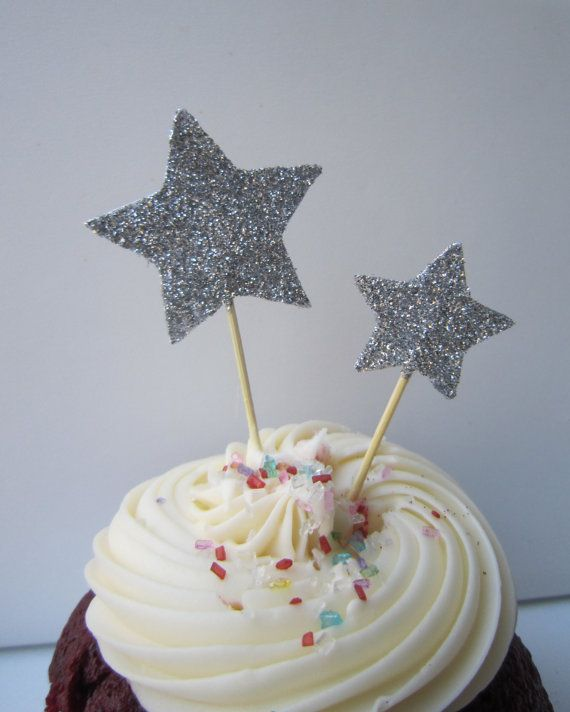 Silver Glitter Star Cupcake Toppers. 20 pieces by BerrysCreations, $12.00