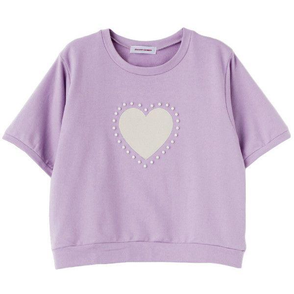 ハートパールプルオーバー ❤ liked on Polyvore featuring tops, t-shirts, tees, purple tee, purple t shirt and purple top