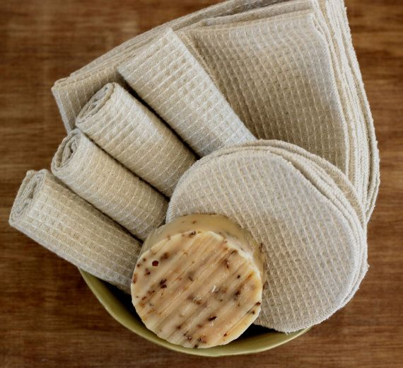 Organic Waffle Facial Cloth & Facial Rounds by NaturalLinens