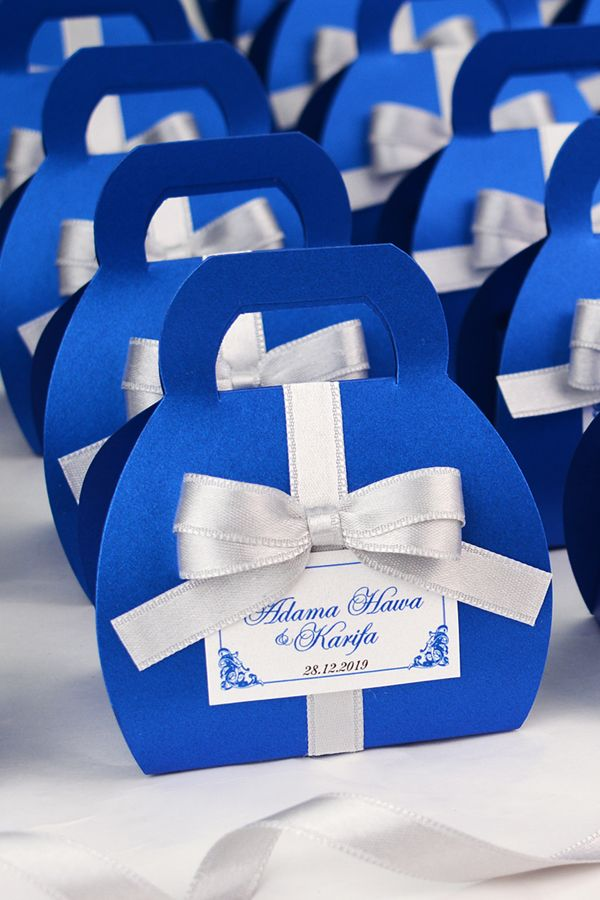 Royal Blue Wedding Favor Gift Box With Silver Satin Ribbon Bow And
