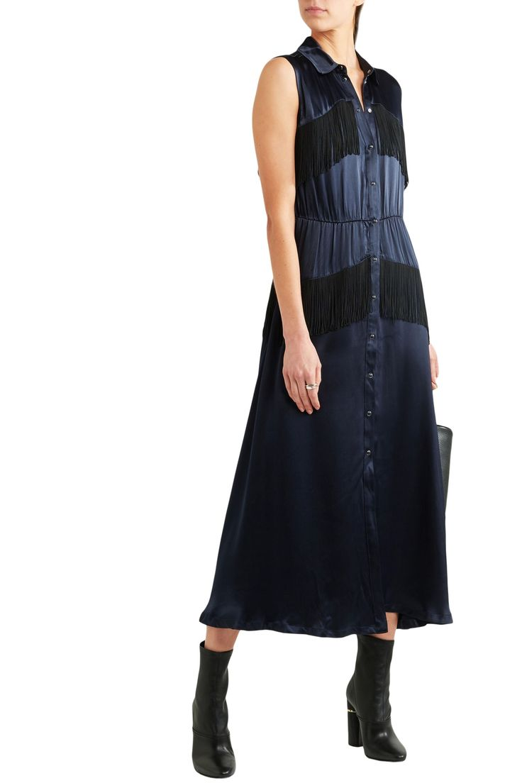 Fringed printed crepe-satin maxi dress | GANNI | Sale up to 70% off | THE OUTNET