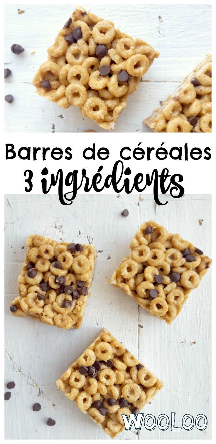 Une recette de barres de céréales 3 ingrédients qui remplace merveilleusement bien les barres tendre du commerce et se mangeront dans l'temps d'le dire. #recette #recipe #barretendre #kids #lunch #snacks