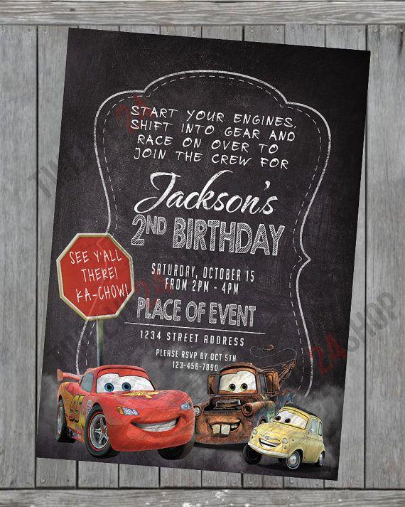 Invitación de cumpleaños Cars de Disney Rayo McQueen Mater
