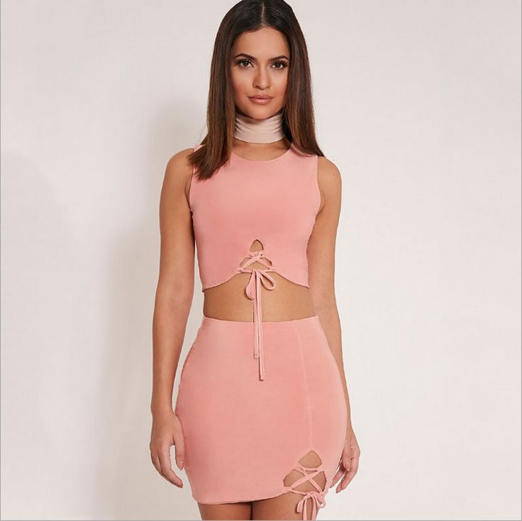 SEXY IRREGULAR BIND SLEEVELESS NECK TWO-PIECE OUTFIT  $25.00 ON SALE