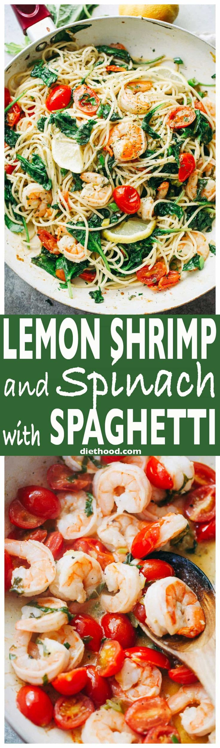 Lemon Shrimp and Spinach with Spaghetti -A quick and absolutely delicious spaghetti dinner tossed with shrimp, spinach, tomatoes, garlic, and lemon juice. via @diethood