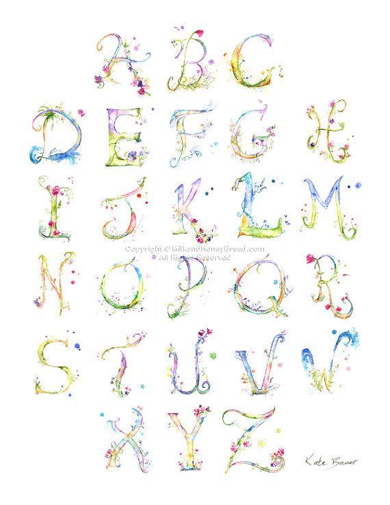 Aquarell Alphabet Blumen Schriftzug von MilkandHoneybread auf Etsy