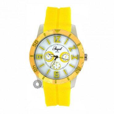 Γυναικείο μοντέρνο sport quartz ρολόι ANGEL με λευκό καντράν, δίχρωμη κάσα & κίτρινο καουτσούκ   Ρολόγια ANGEL στο κατάστημα ΤΣΑΛΔΑΡΗΣ Χαλάνδρι #angel #γυναικειο #ρολοι