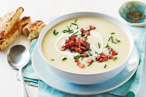 Warm up from the inside out with this creamy leek and potato soup topped with sour cream, chives and crispy bacon bits.