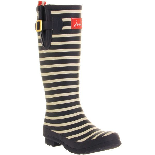 Welly Boots By Joules. Navy and white striped knee high wellington boots with adjustable strap and heel tab. Synthetic upper. Synthetic lining. Exeptional cold…