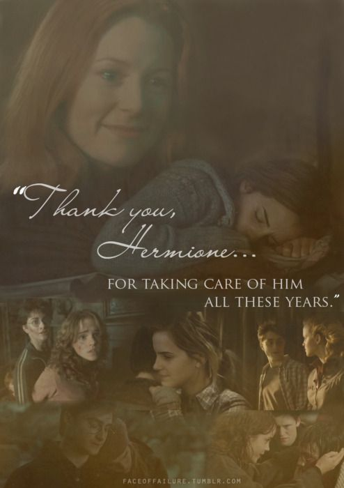 He really wouldn't have gotten far without her... I love how this is from Lily to Hermione, it's not something you often see <3