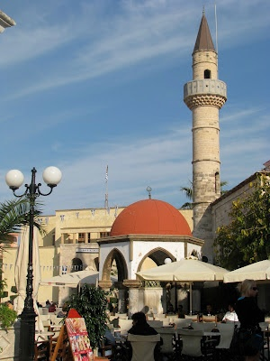 The Nefterdar Mosque in Kos Town, on the island of Kos in Greece