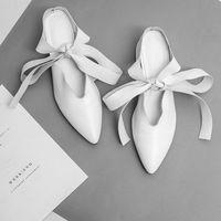 Lala ikai натуральная кожа сандалии для женщин толстая med каблуки кросс-привязанные белый/черный обувь острым носом зашнуровать причинно обувь xwa0565