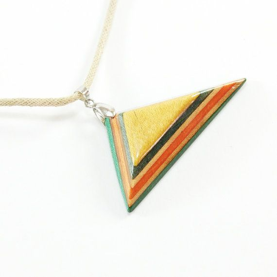 Recycled Skateboard Jewelry - Skateboard Necklace, Triangle necklace, Recycled Wood Necklace, woman birthday,Eco jewelry,yellow,gift for her