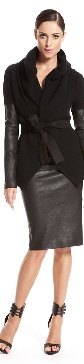Recreate with @CAbi Clothing Fleather Skirt, Fleather Fingerless Gloves and a Black Jacket   Donna Karan