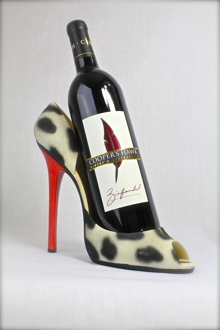 High heel wine bottle holder = great girlie gift.