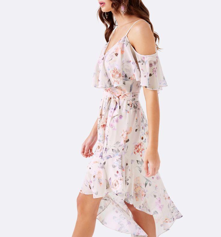 Forever New - Bianca Çiçekli Düşük Omuz Asimetrik Elbise
