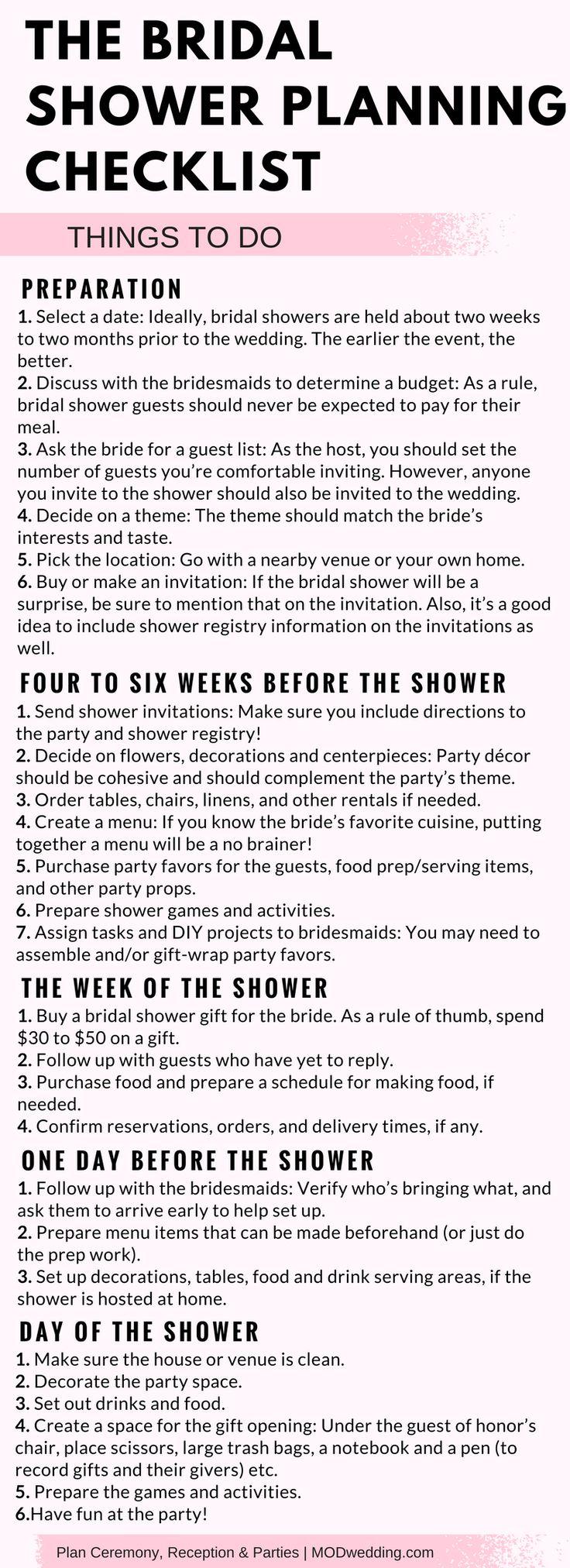 the bridal shower planning checklist
