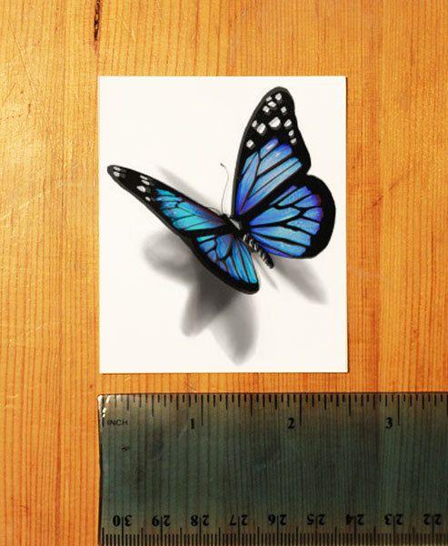 3D Blue Butterfly Temporary Tattoo looks like if door TattooMint