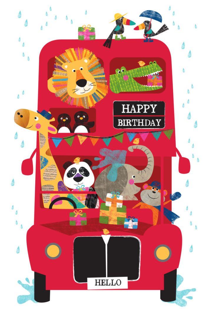 Animal Red Bus Birthday Card