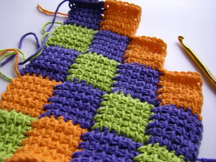 tunisian entrelac-this is easy once you get to the 2nd row.