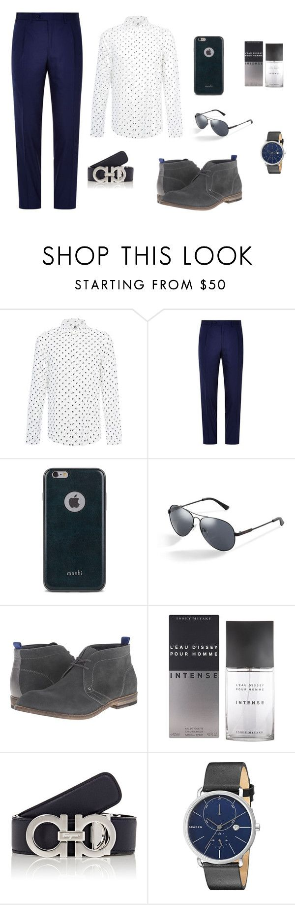 """Guess who..."" by ustine on Polyvore featuring PS Paul Smith, Canali, Moshi, GUESS, Issey Miyake, Salvatore Ferragamo, Skagen, men's fashion i menswear"