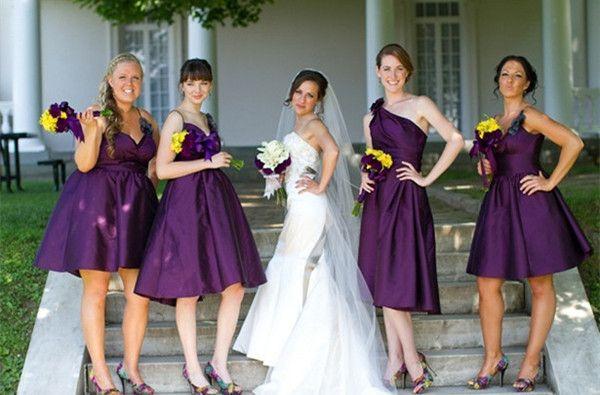 lila und gelb Hochzeit 2014 Hochzeitskleider Brautjungfernkleider kurz Lila Hochzeitsgraf Fotos Gelb, Blau und Lila Hochzeit Ideen – 2014 Hochzeitsfarben Trend