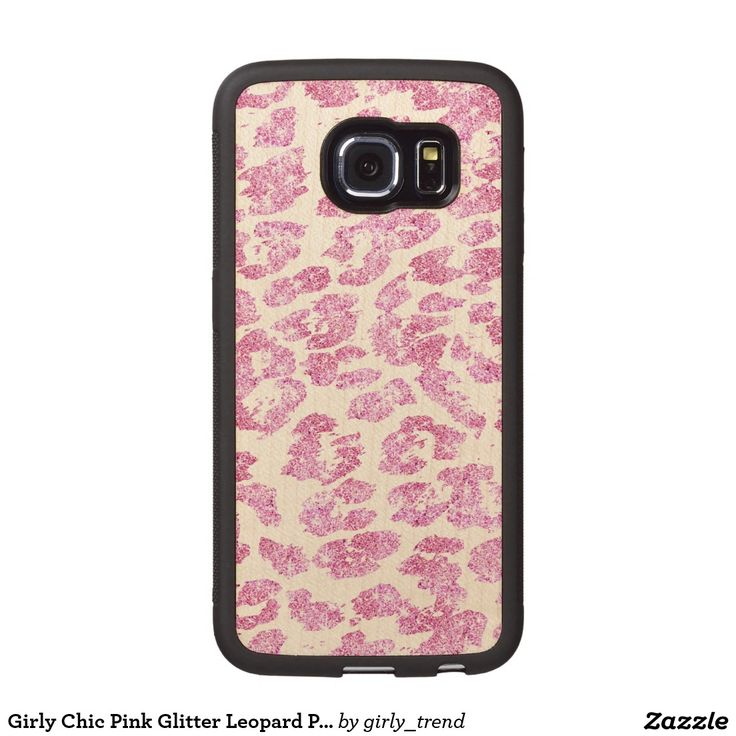 Girly Chic Pink Glitter Leopard Print Pattern Wood Phone Case