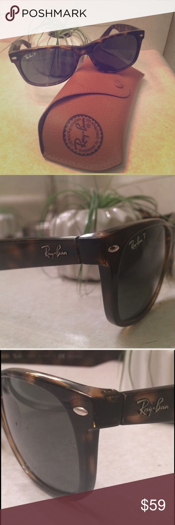 Polarized N.Wayfarer  Ray Bans Tortoise shell polarized Rayban New Wayfarer sunglasses. There is a small chip out of one lense as shown in the last photo. Ray-Ban Accessories Sunglasses