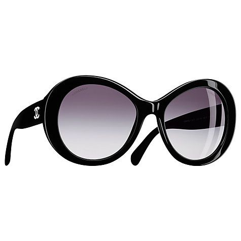 Buy CHANEL Oval Sunglasses CH5372 Black/Silver Online at johnlewis.com