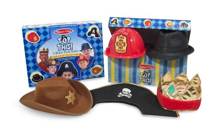 MELISSA & DOUG,ΣΕΤ ΜΕΤΑΜΦΙΕΣΕΩΝ ΚΑΠΕΛΑ ΓΙΑ ΑΓΟΡΙΑ 5 Καπέλα για παιχνίδια ρόλων: κάουμποϊ, αναστρέψιμη κορώνα, πειρατή, πυροσβέστη και ροκά.Όλα τα υφασμάτινα καπέλα είναι από 100% πολυέστερ.
