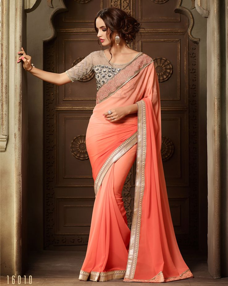 #Lalgulal #Peach Georgette #Embroidery #Designer Blouse #Partywear #Bridemate #Saree. Buy Now :- http://www.lalgulal.com/sarees/peach-georgette-embroidery-designer-blouse-partywear-bridemate-saree-685 To Order Visit our #Website or You can Call or #Whatsapp us on +91-95121-50402.  #COD & #FreeShipping Available only in India.