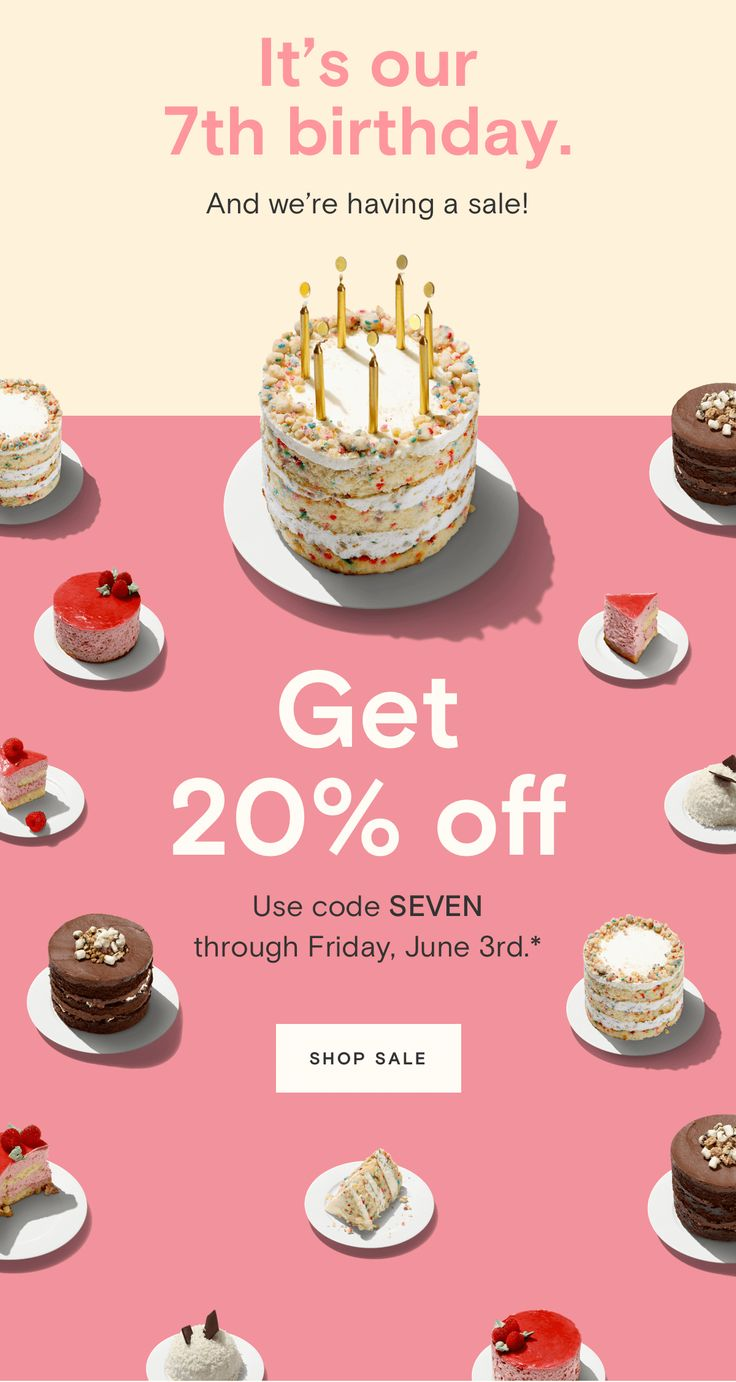It's our 7th birthday. And we're having a sale! Get 20% off. Getting older isn't all bad. Tell us when your birthday is, and we'll send you a little something every year.