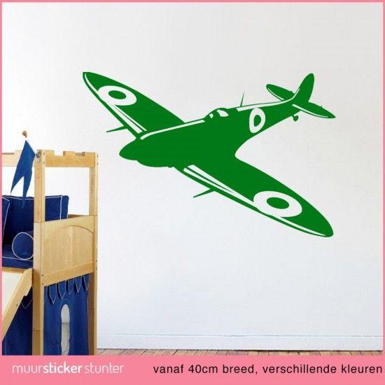 leger gevechts-vliegtuig-leger-muursticker-kinderkamer army wallsticker plane