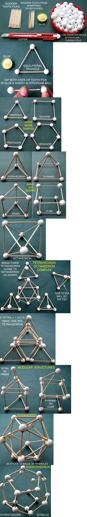Géométrie 2D et 3D en cure-dents, polystyrène et colle