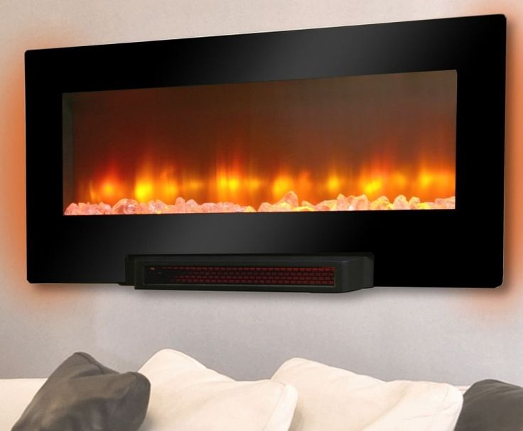 Grand Aspirations Electric Flat Panel Infrared Fireplace  -     Wall mount or pedestal mount (includes hardware for both)     LED flame effect with variable intensity and brightness     Flame effect may be used with or without heater     Thermostat adjusts from 61 degrees to 82 degrees Fahrenheit     Multi-colored LED backlighting enhances...