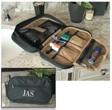 Our men's toiletry bag can be personalized with his name or monogram and is big enough to hold all his shaving needs making room for your stuff all over the counter!