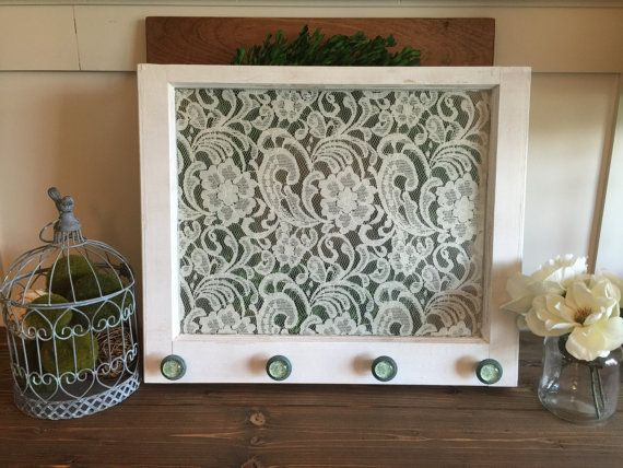 Vintage Window with Lace backing & ornate knobs by TheRusticNest13