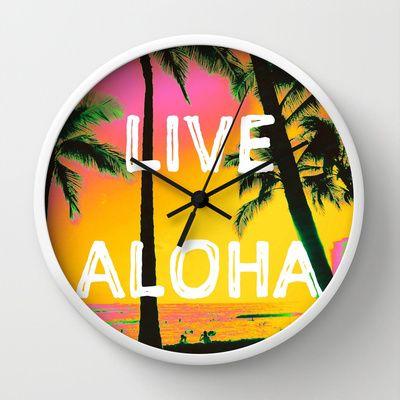 LIVE ALOHA Wall Clock by Stoneriver - $30.00  LIVE ALOHA Art Print by Stoneriver - $15.00   #hawaii #sunset #romantic #vacation #travel #trip #silhouette #palmtree #nature #dusk #landscape #ocean #surfing #oahu #waikiki #waikikibeach #beach #tropical #typography #aloha #livealoha #colorful #happy #present #clock #wallclock