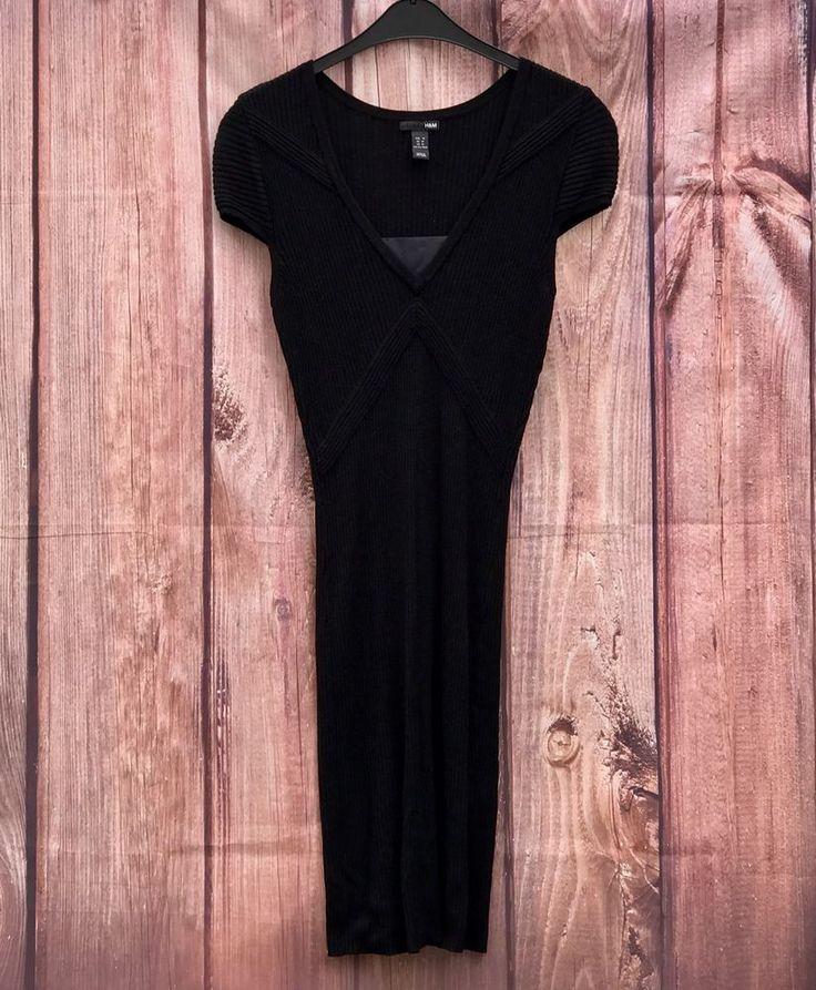 H&M women's black jumper dress ribbed lines stretchy size M smart maxi deep v