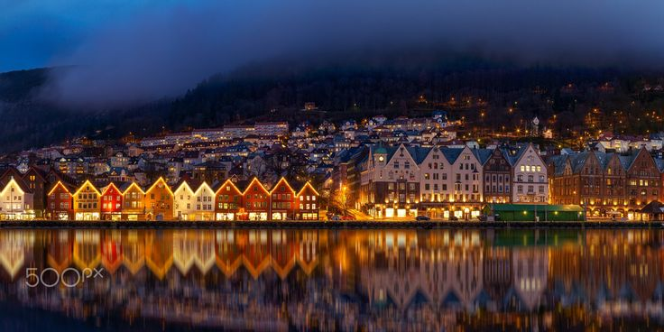 "Reflections in The Night - Beautiful old wharf ""Bryggen"" in Bergen, Norway."
