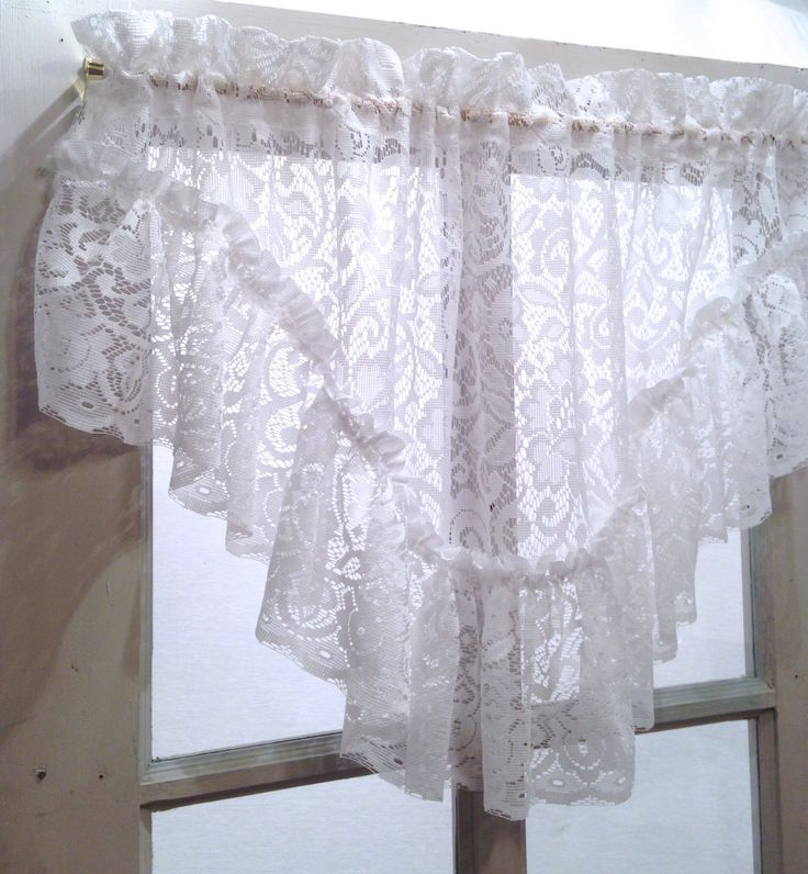 Victorian white, French shabby chic lace ruffled valance; polyester country cottage curtain, kitchen window treatment; yesteryears classic by LisaLiYesterYears on Etsy