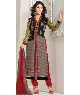 Wonderful Red And Multi-Color Georgette Straight Suit.