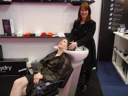 Professional Hairdresser Live 2013 - check out the Easydry black towel being using on the stand. www.easydry.com #prohairlive @easydryintl
