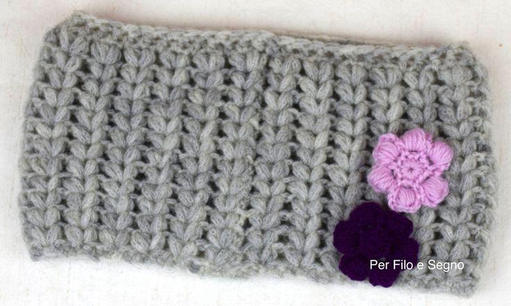 Scaldacollo e fiori punto puff - crochet cowl puff stitch di perfiloesegnostore su Etsy