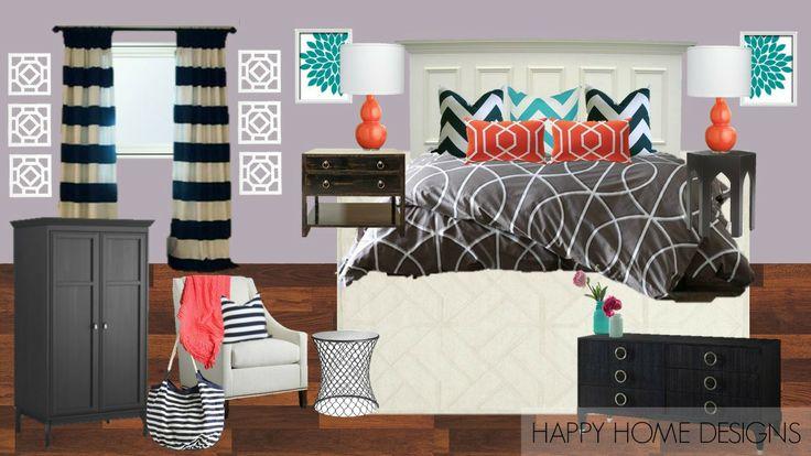 Lavender purple, navy blue, coral, aqua, grey bedroom ...