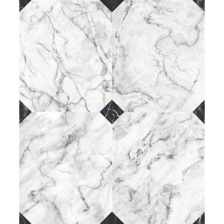 Papier Peint Dalles de marbre blanc grisé avec cabochons - Koziel.fr