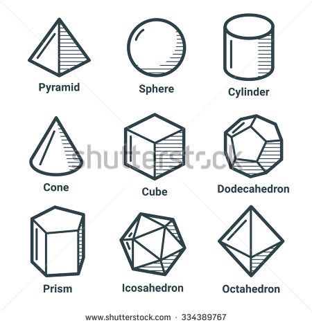 Collection of geometrical shapes in outline style.
