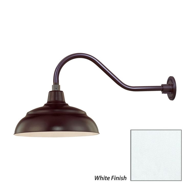 Millennium lighting satin red r series 1 light outdoor wall sconce with dark sky compliant warehouse shade and gooseneck stem sea gull lighting